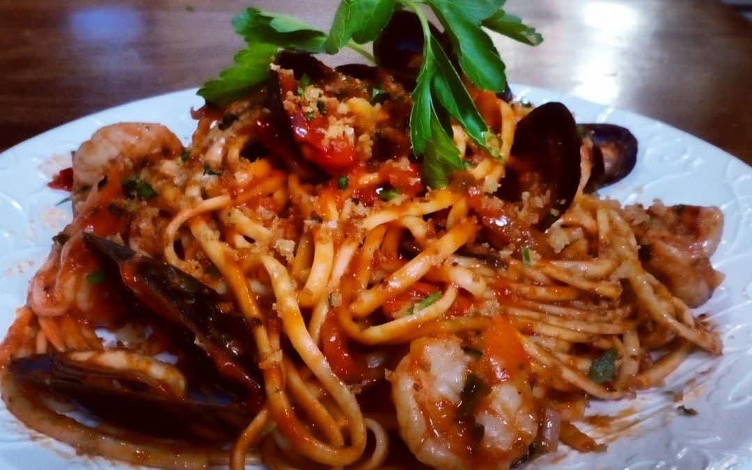 Bloody Mary Linguine with Mussels and Prawns