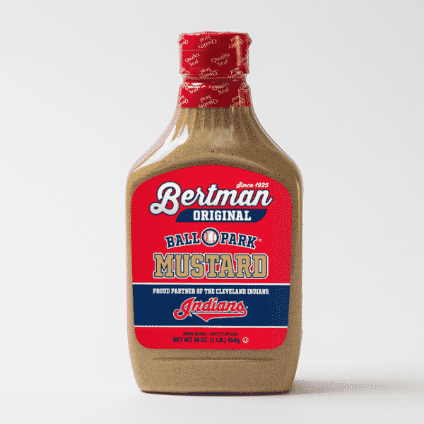 1 Case (12 ea) 16 oz. Cleveland Indians Label Bertman Original Ball Park Mustard